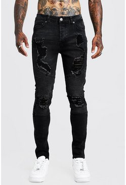 Mens Washed black Super Skinny Biker Jeans With Extreme Rips