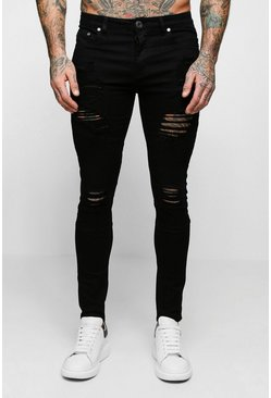Mens Black Super Skinny Biker Jeans With Extreme Rips