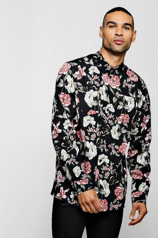 Black Long Sleeve Floral Print Shirt