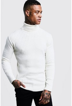 Ecru Muscle Fit Ribbed Long Sleeve Turtleneck Sweater