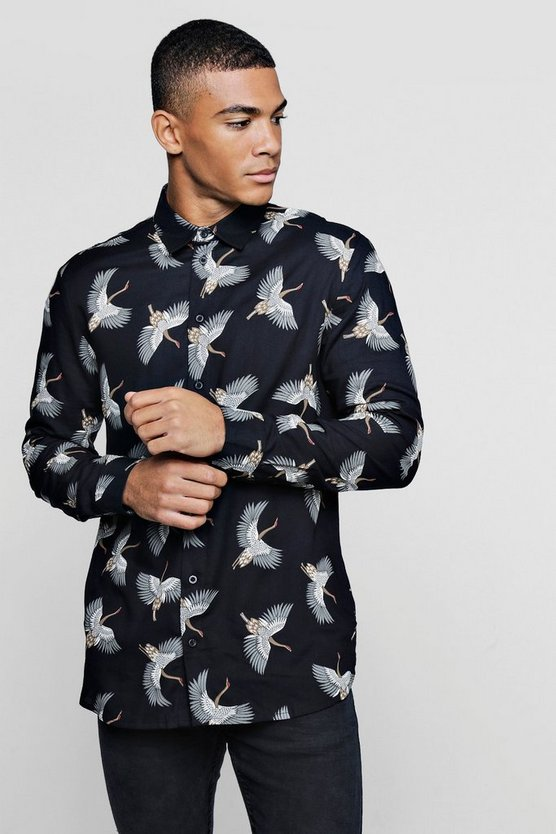 Black Bird Print Long Sleeve Viscose Shirt