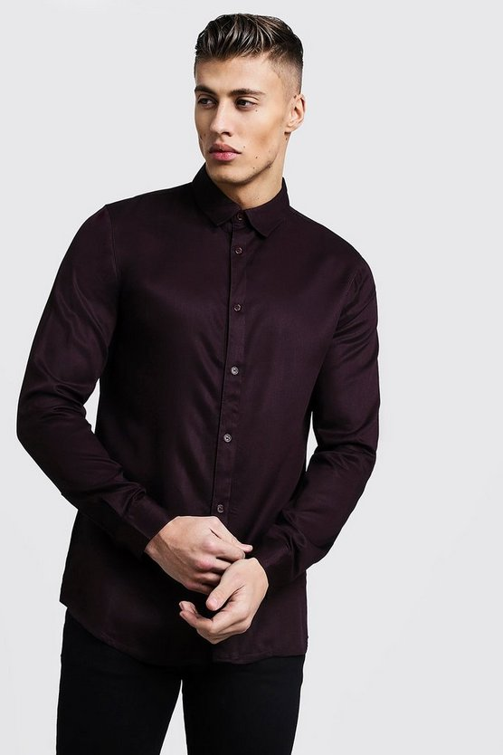 Mens Burgundy Long Sleeve Viscose Shirt