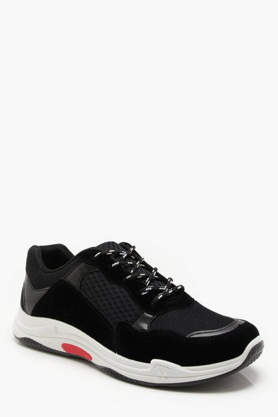 Black Faux Suede Panelled Chunky Trainer