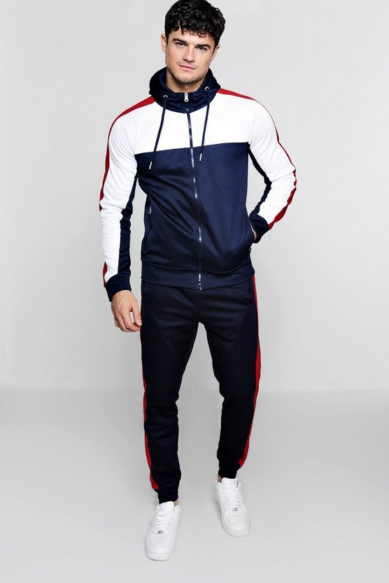 Navy Tricot Colour Block Zip Through Hooded Tracksuit