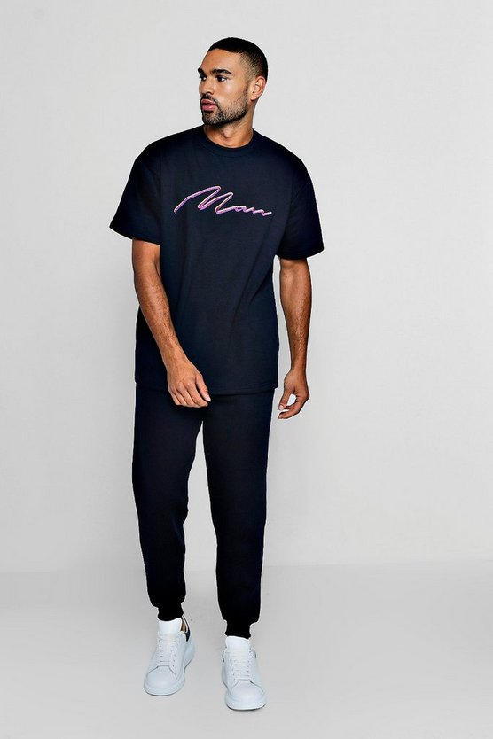 Mens Navy Man Signature Embroidered T-Shirt & Loose Jogger Set
