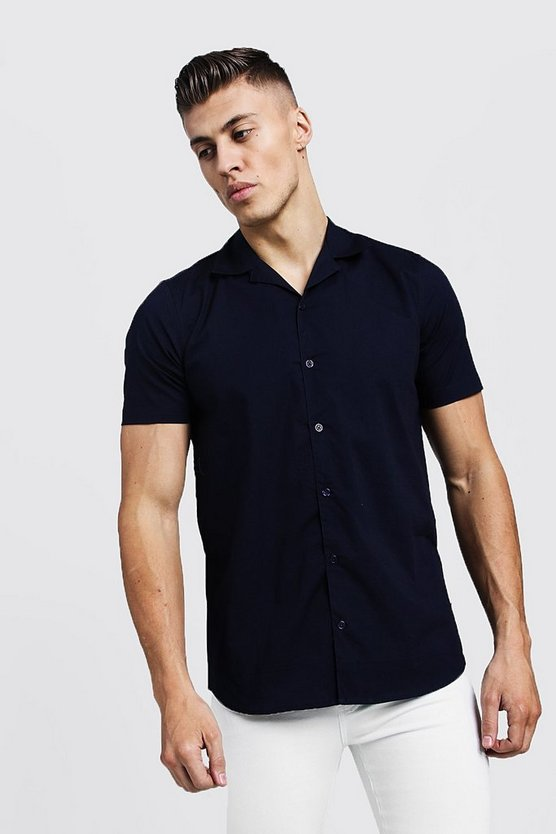 Navy Muscle Fit Revere Collar Short Sleeve Shirt