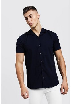Mens Navy Muscle Fit Revere Collar Short Sleeve Shirt