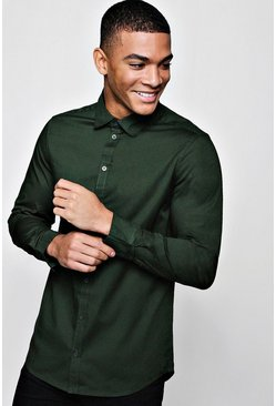 Mens Khaki Muscle Fit Long Sleeve Shirt