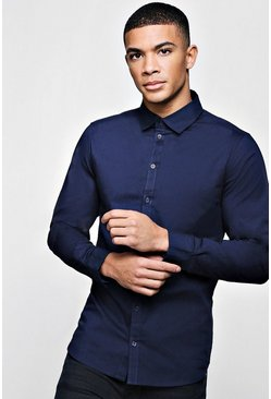Mens Navy Muscle Fit Long Sleeve Shirt