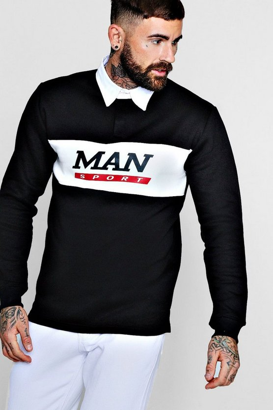 Black Contrast Panel Man Sport Rugby Sweater