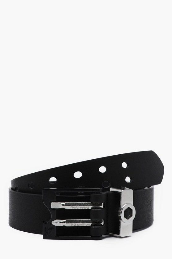 Mens Black Faux Leather Belt With DIY Attachments