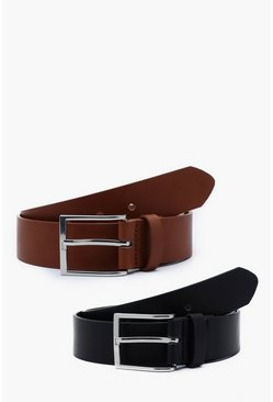 Mens Multi 2 Pack Faux Leather Belt