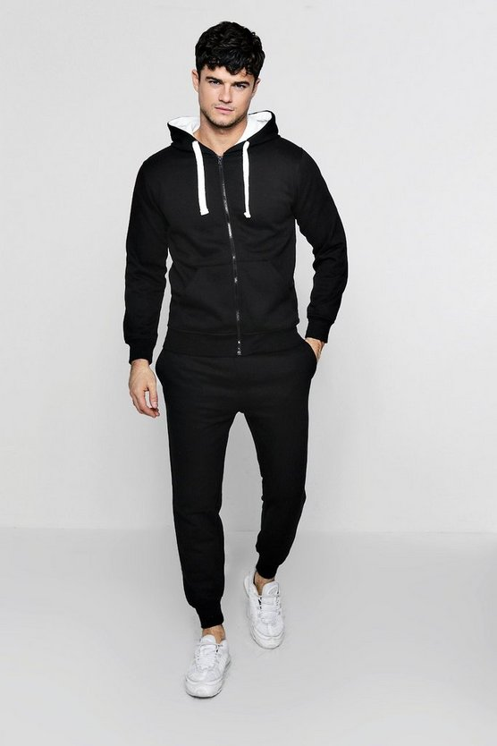Black Zip Through Hooded Tracksuit With Contrast Drawcords