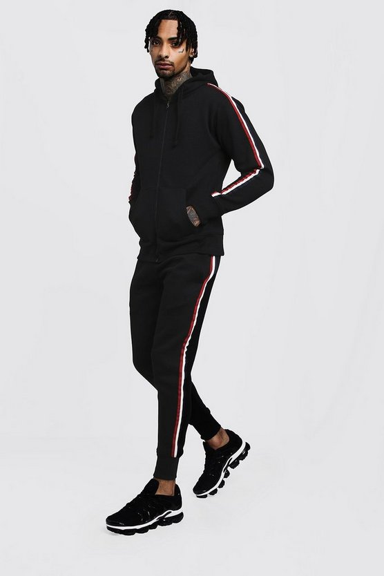 Black Zip Through Hooded Tracksuit with Tape Detailing