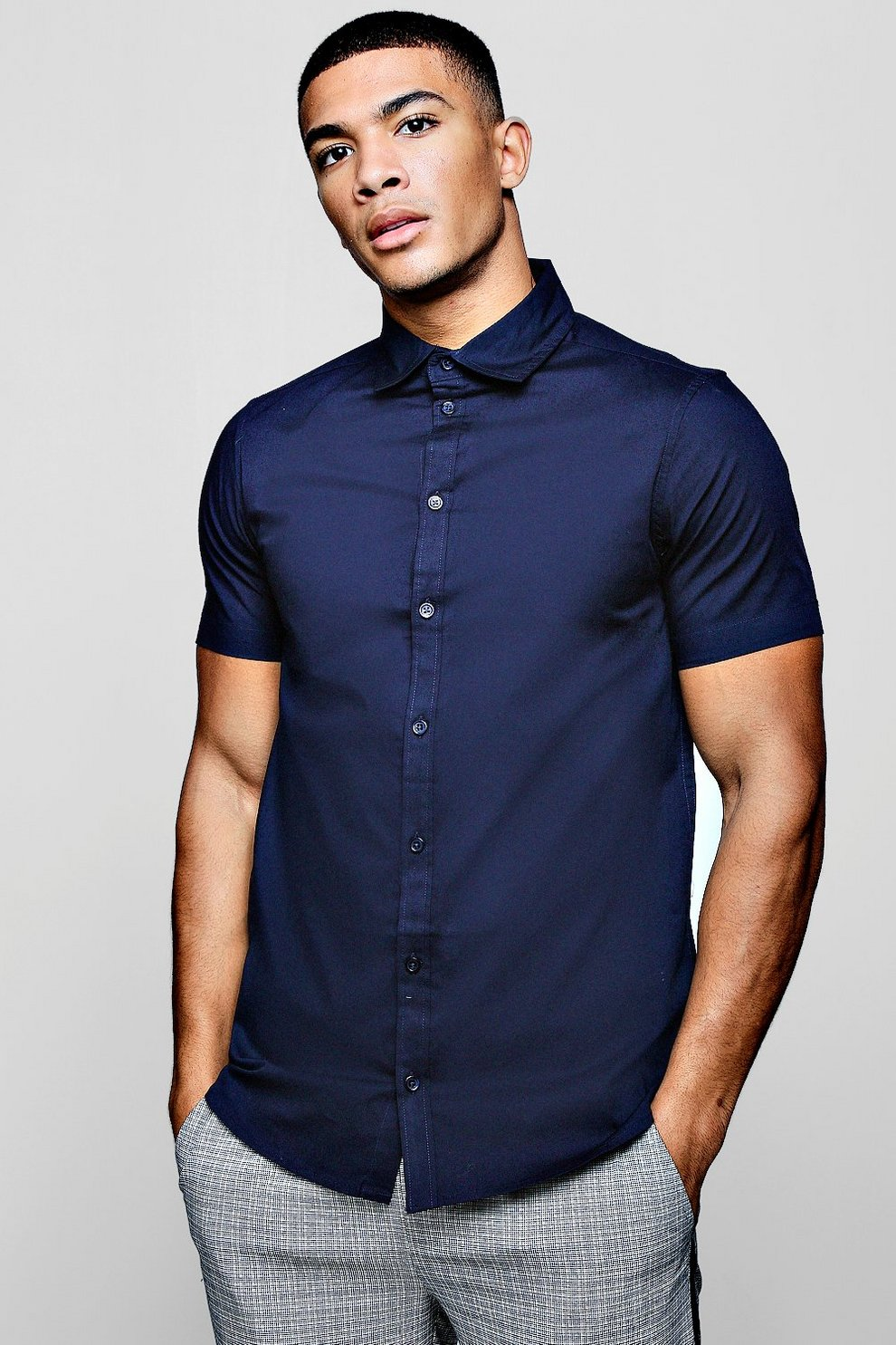 9d99f43d6 Mens Navy Muscle Fit Short Sleeve Shirt. Hover to zoom. Close video