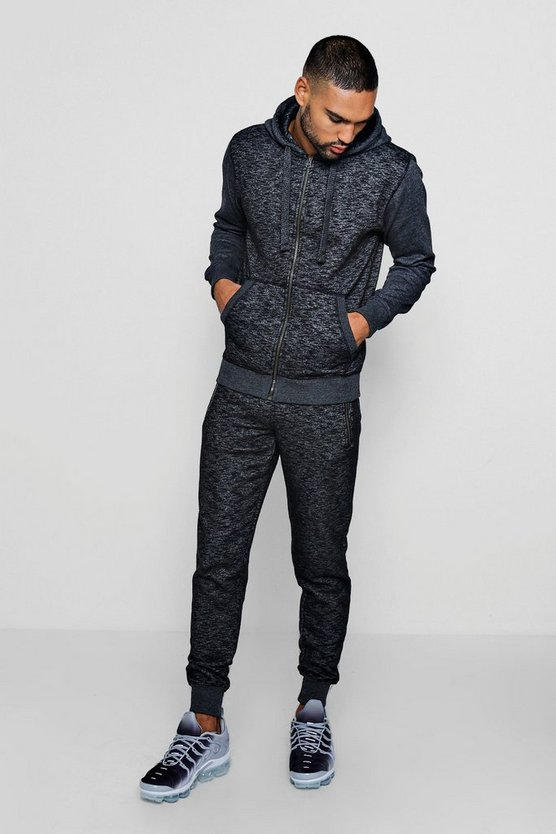 Charcoal Hooded Zip Through Melange Tracksuit