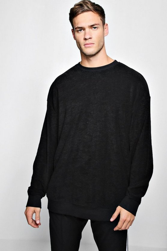 Black Oversized Sweater In Towelling