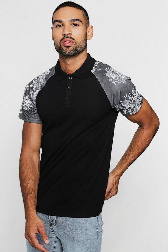 Black Raglan Polo With Floral Sleeves