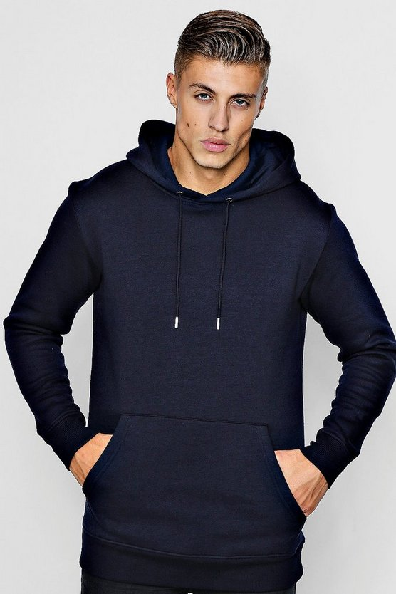 Navy Longline Regular Fit Hoodie