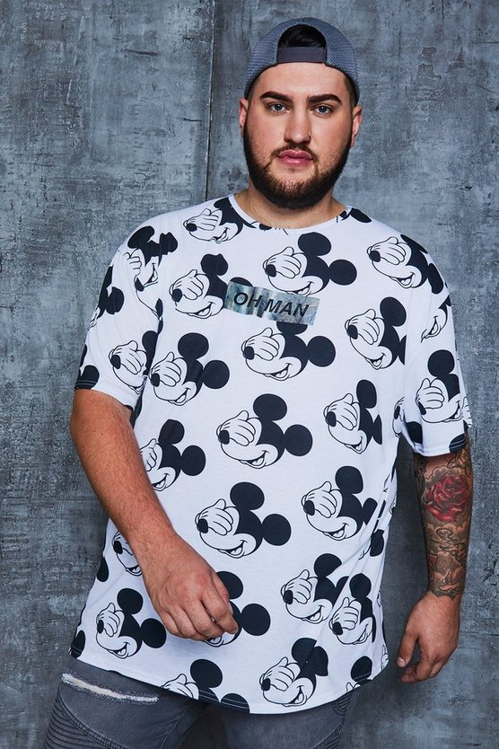 White Big And Tall Disney 'Oh Man' Oversized T-Shirt