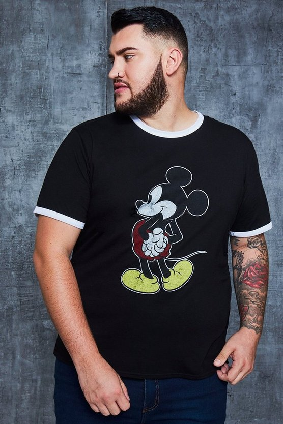 Mens Black Big And Tall Disney Washed Out Mickey T-Shirt