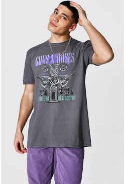Charcoal Oversized Guns N Roses License T-shirt