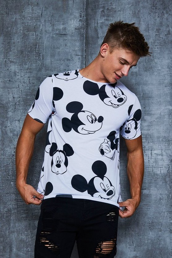 White Disney All Over Mickey Print T-Shirt