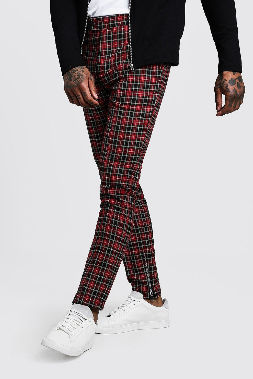 b4fefab36464 Tartan Smart Trouser With Zip Ankle Detail - boohooMAN