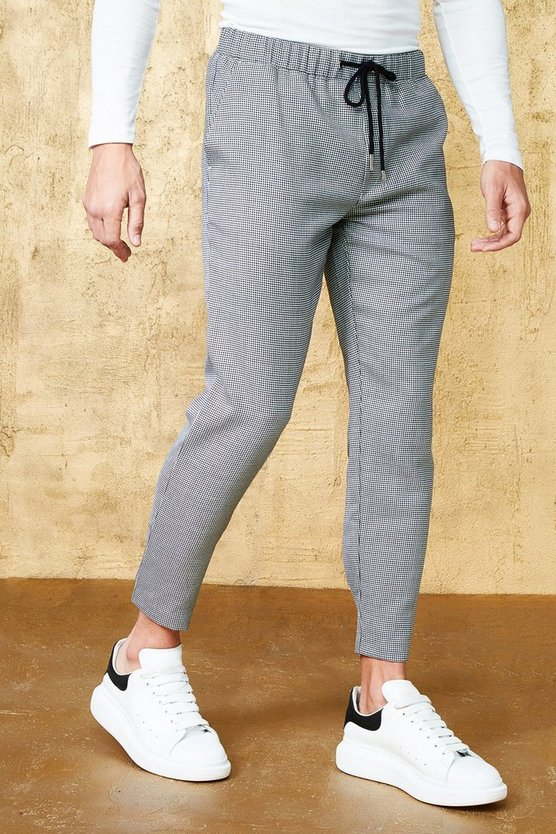 Black Mini Houndstooth Cropped Smart Jogger