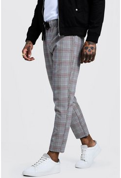 Mens Grey Smart Check Cropped Jogger