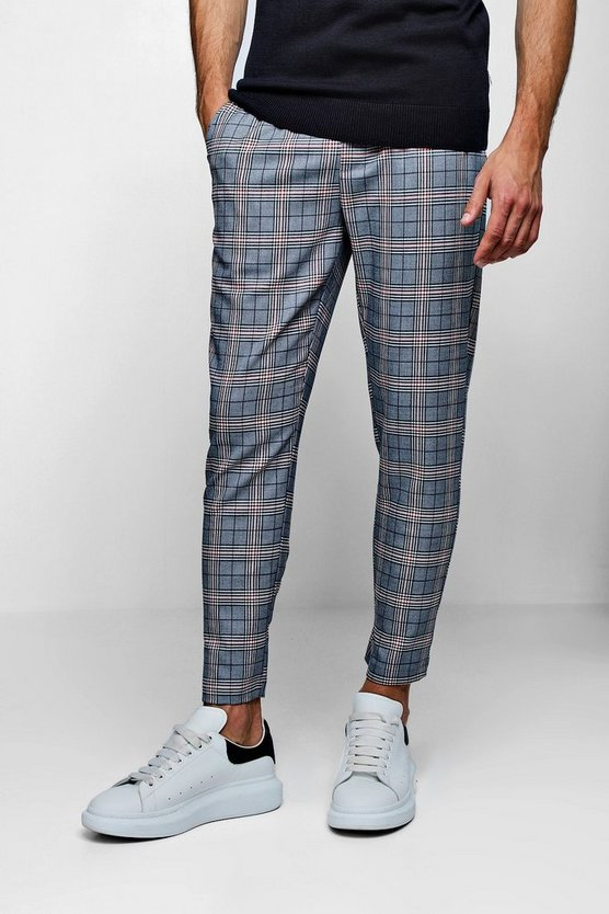 Mens Blue Smart Check Cropped Cuffed Jogger