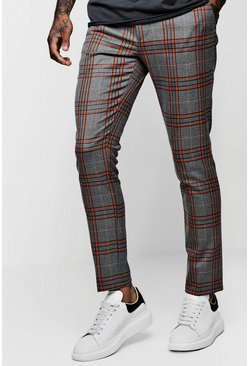 Mens Orange Bold Detail Check Cropped Trouser