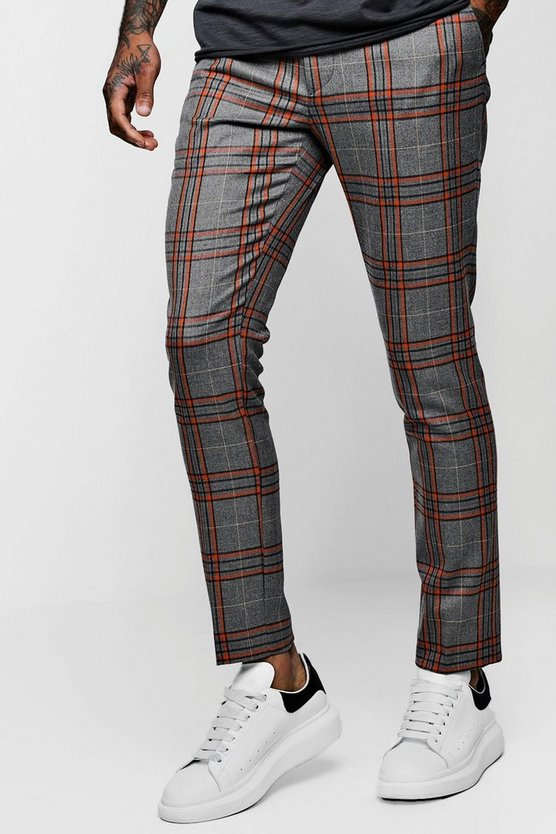 Bold Detail Check Cropped Pants
