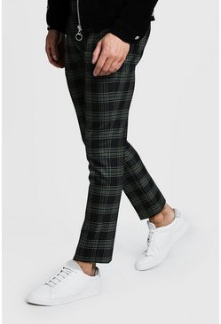 Mens Green Bold Check Detail Cropped Pants