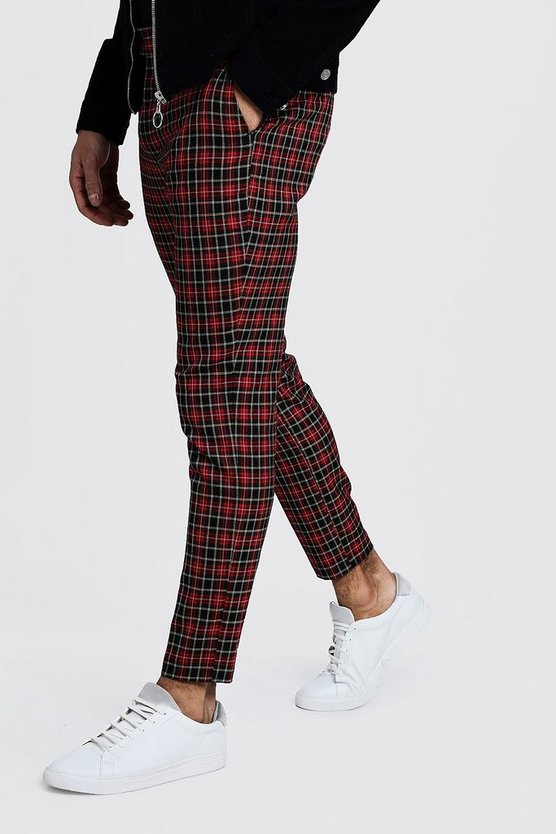 Mens Red Smart Check Cropped Jogger Trouser