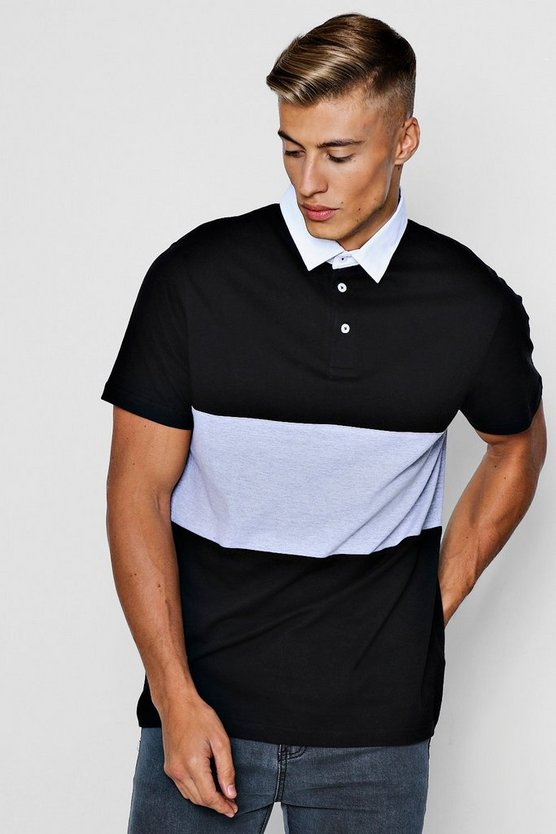 Black Short Sleeve Rugby Polo With Chest Panel