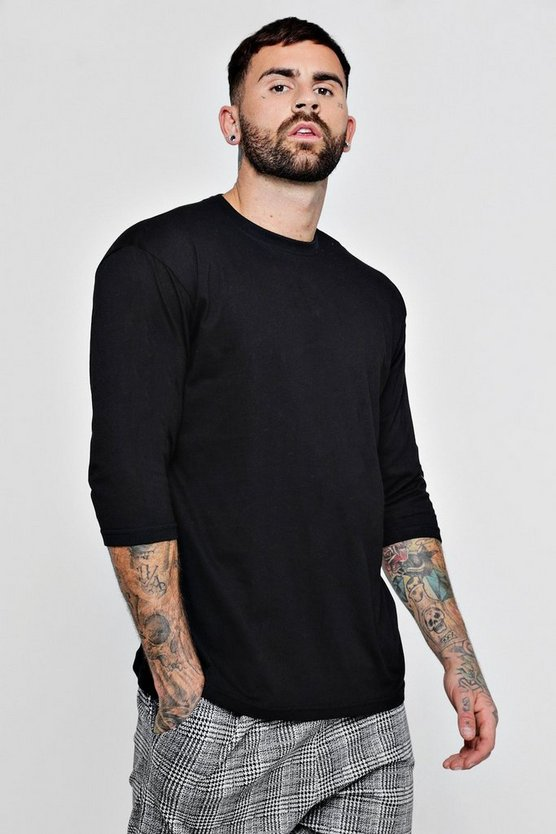 Black Loose Fit 3/4 Sleeve T-Shirt