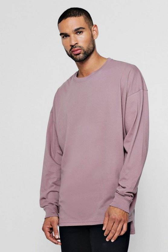 Bark Long Sleeve Oversized Split Hem T-Shirt