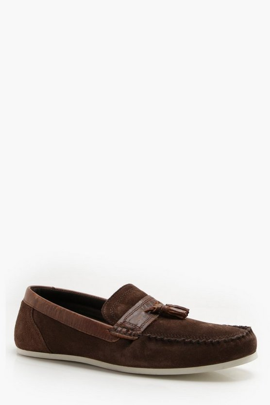 Brown Real Suede White Sole Loafer