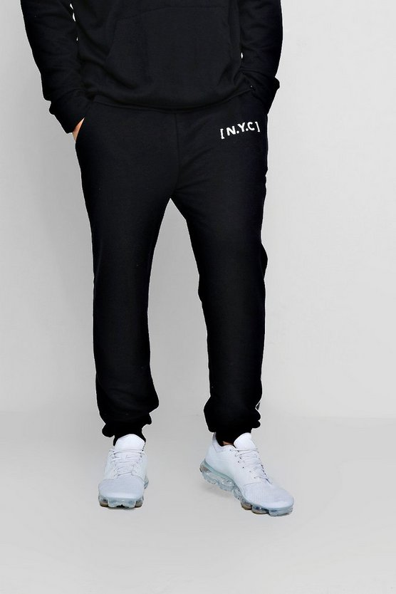 Mens Black Loose Fit NYC Slogan Joggers