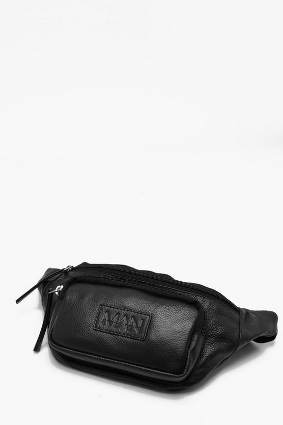Black Real Leather MAN Patch Pocket Bum Bag
