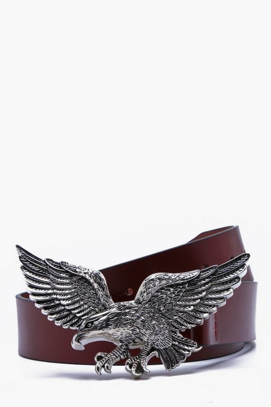 Mens Tan Faux Leather Eagle Buckle Belt