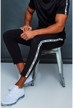 Mens Black MAN Active Gym Jogger With Side Tape