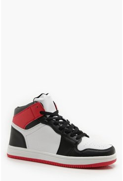 Mens White Faux Leather Sporty Hi Top