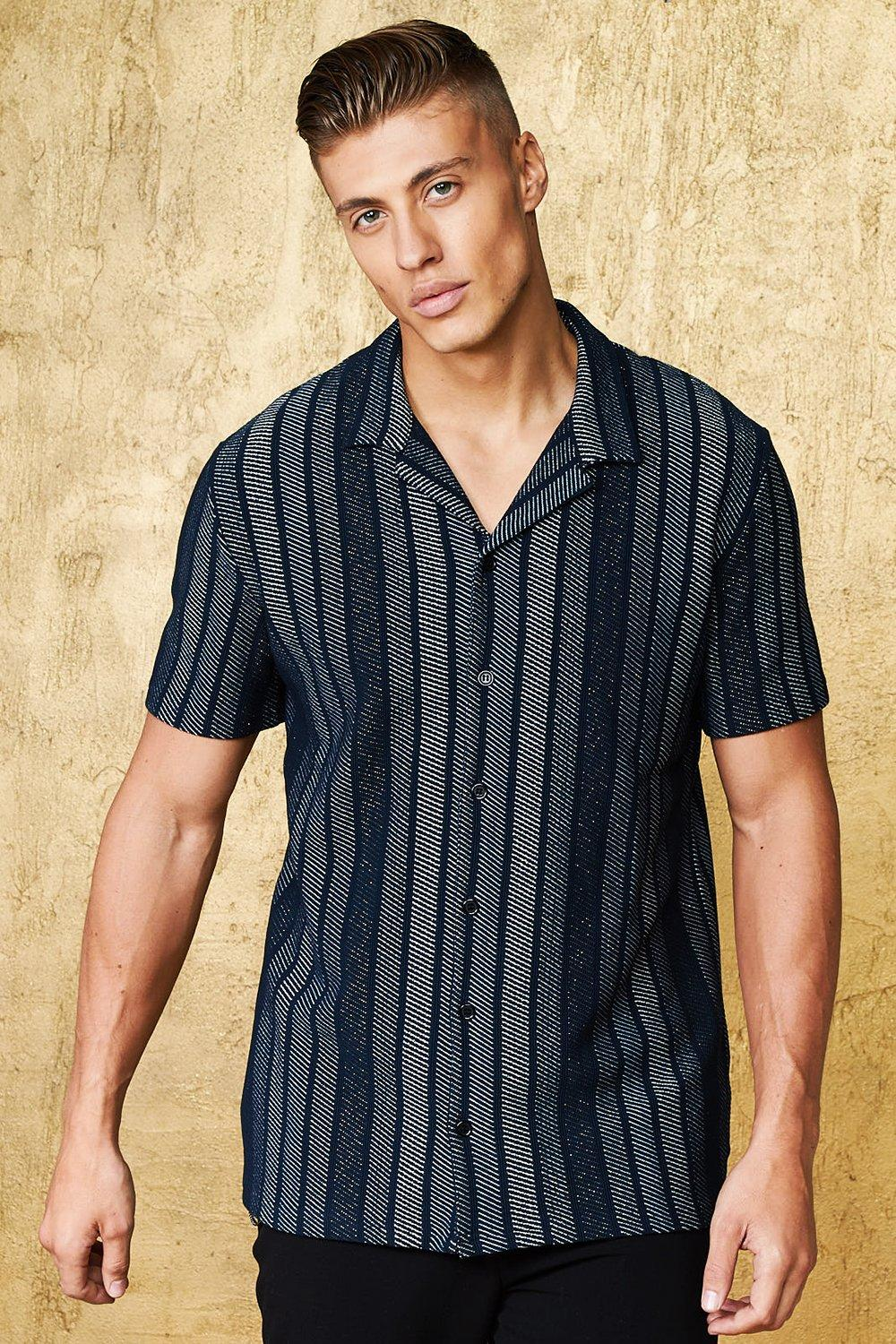 7205d623971e5b Mens Black Vertical Stripe Short Sleeve Revere Shirt. Hover to zoom