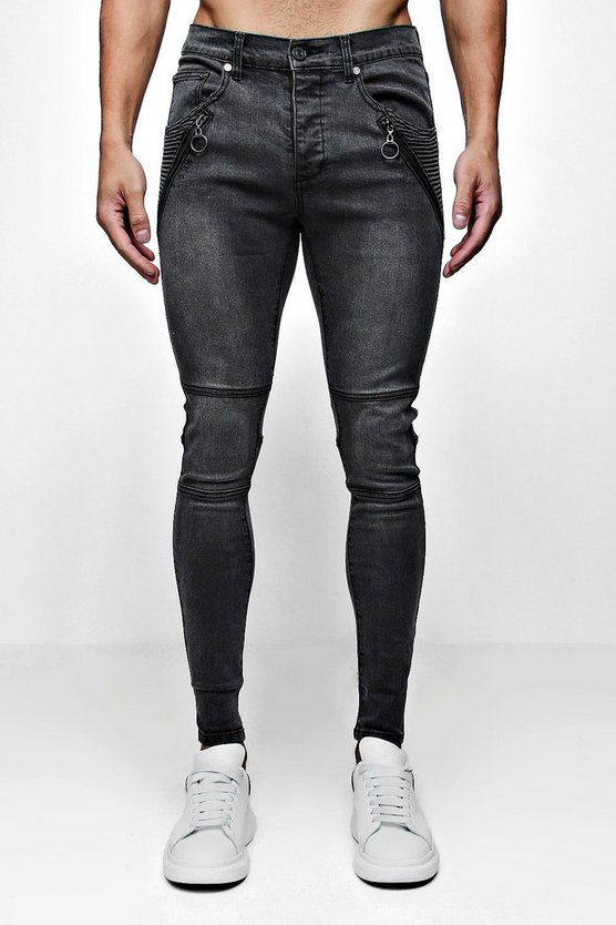 Charcoal Super Skinny Biker Jeans with Hardware