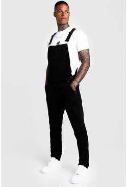 Mens Black Slim Fit Denim Overalls