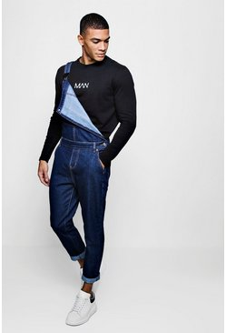 Mens Indigo Slim Fit Denim Overalls With Contrast Stitch