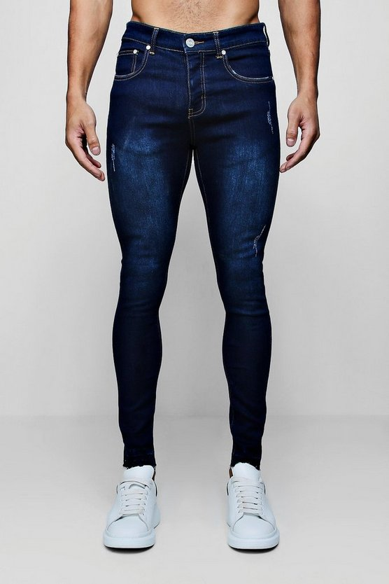 Indigo Super Skinny Jeans and Let Down Hem
