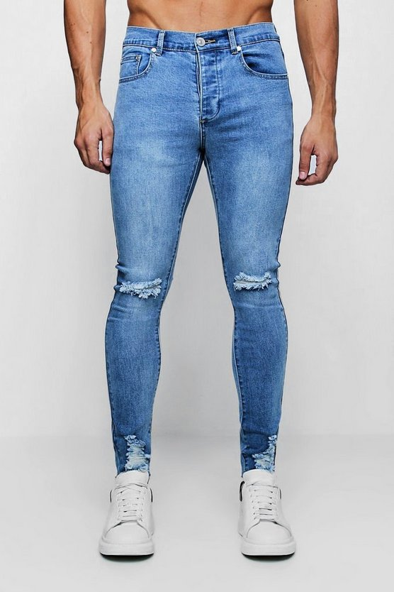 Mens Washed blue Super Skinny Jeans with Distressed Knee and Hem